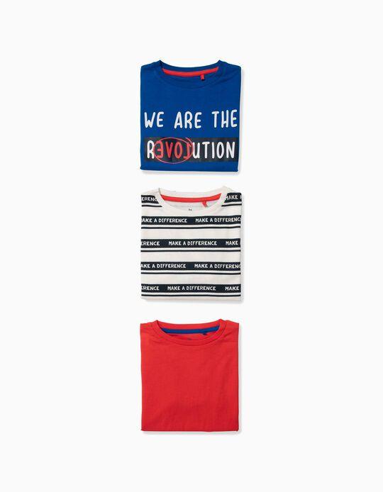 3 Camisetas para Niño 'Make a Difference', Multicolor