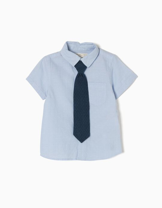 Camisa Manga Curta com Gravata