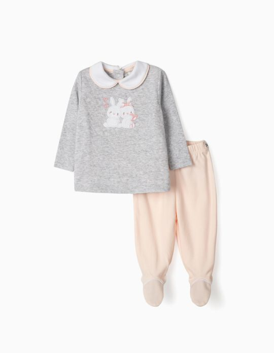 Pyjamas for Newborn Baby Girls, 'Little Bunnies', Pink/Grey