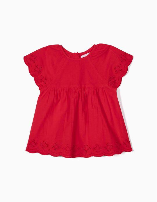 Blusa para Menina com Bordado Inglês, Vermelho
