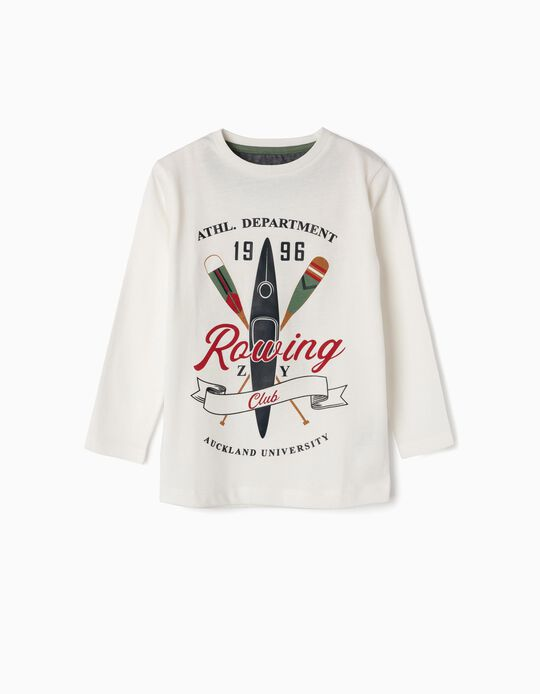 Camiseta de Manga Larga para Niño 'Rowing Club', Blanca