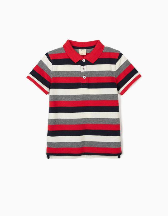 Polo à rayures garçon, bleu/blanc/rouge