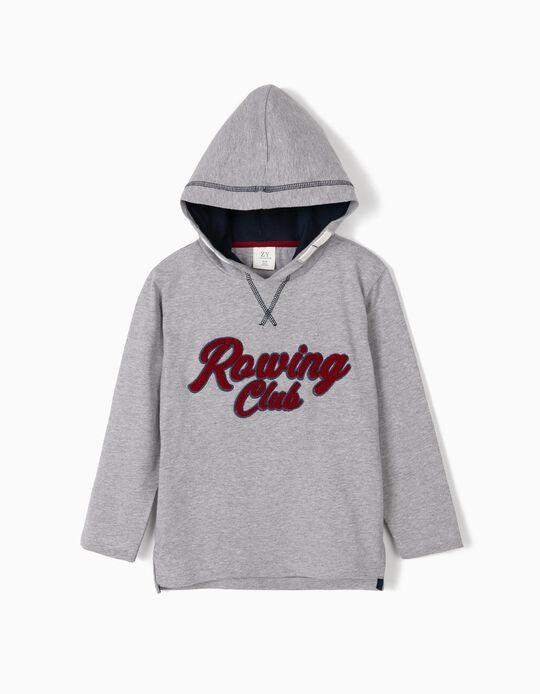 T-shirt Manga Comprida com Capuz para Menino 'Rowing Club', Cinza