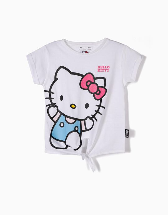 T-shirt for Girls 'Hello Kitty' with Front Knot, White