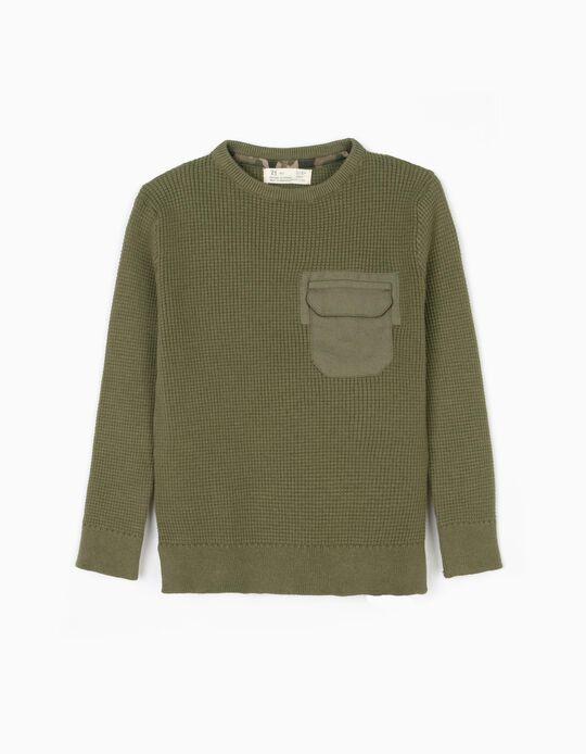 Camisola de Malha para Menino com Bolso, Verde