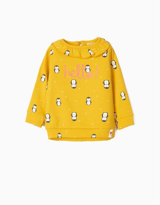 Sweatshirt para Bebé Menina 'Hello!', Amarelo