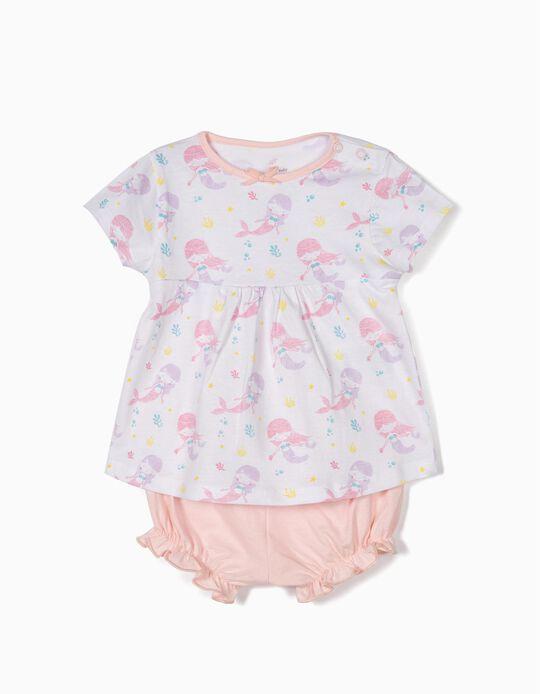 Pijama para Bebé Niña 'Mermaid', Blanco y Rosa