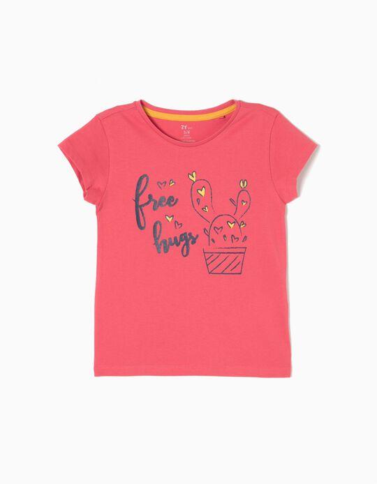 T-shirt Free Hugs Rosa