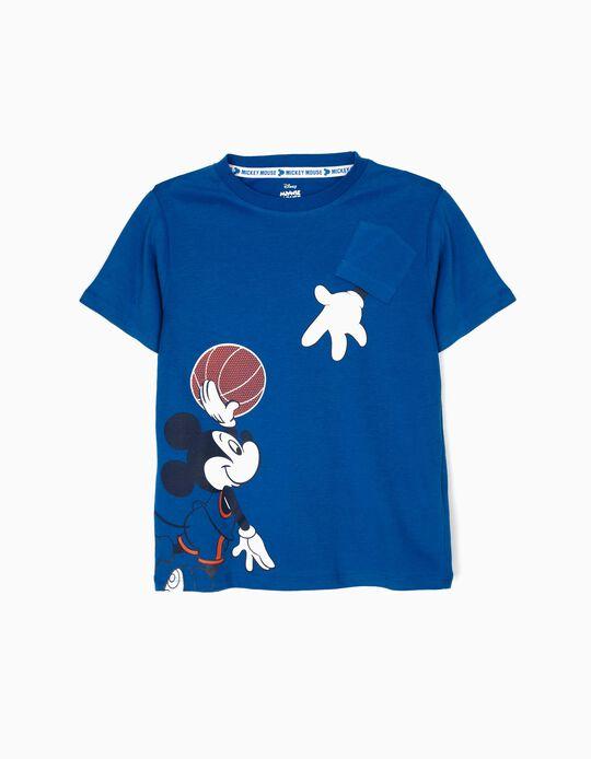 T-shirt para Menino 'Mickey Basketball', Azul