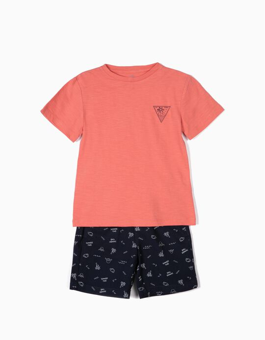 T-shirt et short 'Summer Time', corail et bleu