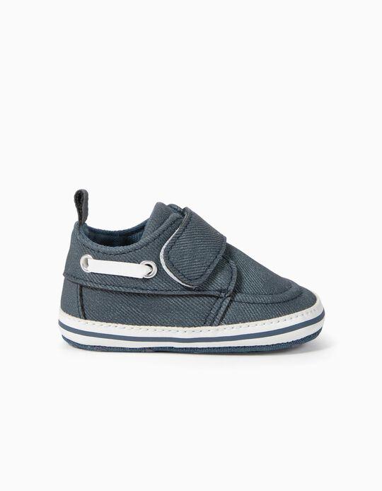 Zapatos Encerados para Recién Nacido, Azul Oscuro