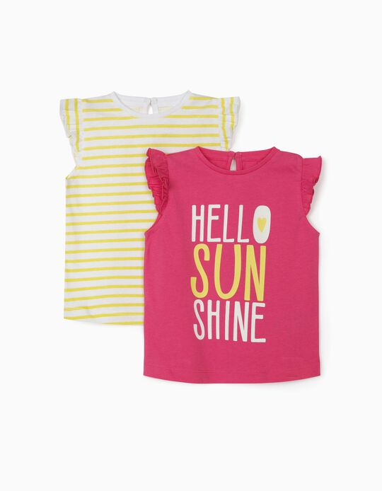 2 T-shirts for Baby Girls, 'Hello Sunshine', Pink/Yellow/White