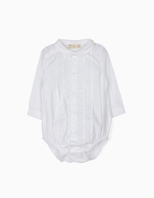 Body-Camisa Recém-Nascido Pregas Branco B&S