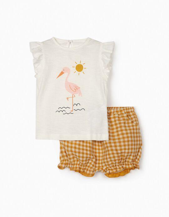 T-shirt e Calções Vichy para Bebé Menina, Amarelo Escuro/Branco
