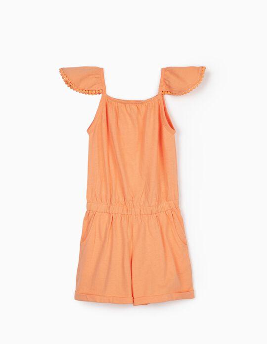 Combinaison jersey fille, orange