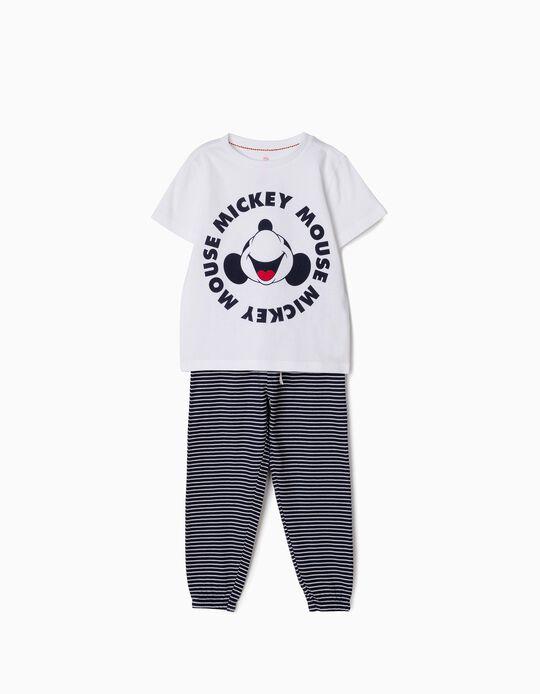 Pijama para Menino 'Mickey' Riscas, Branco e Azul