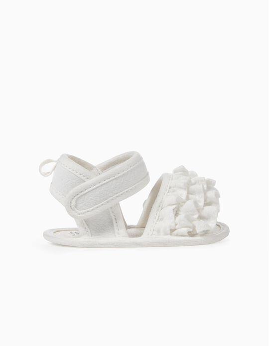 Sandalias para Recién Nacida con Volantes, Blancas