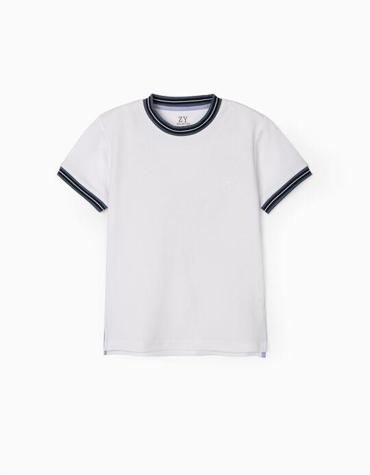 T-shirt Polo Piqué para Menino, Branco