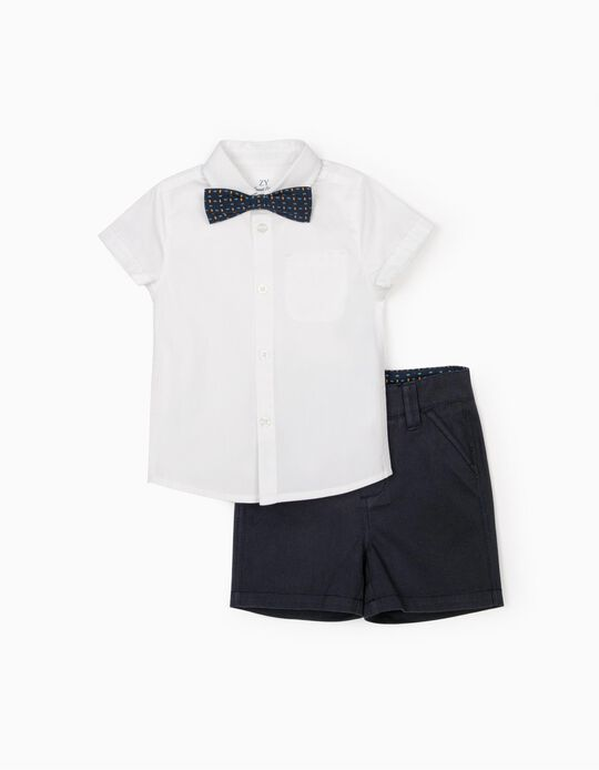 Shirt, Bow Tie & Shorts for Baby Boys, White/Dark Blue
