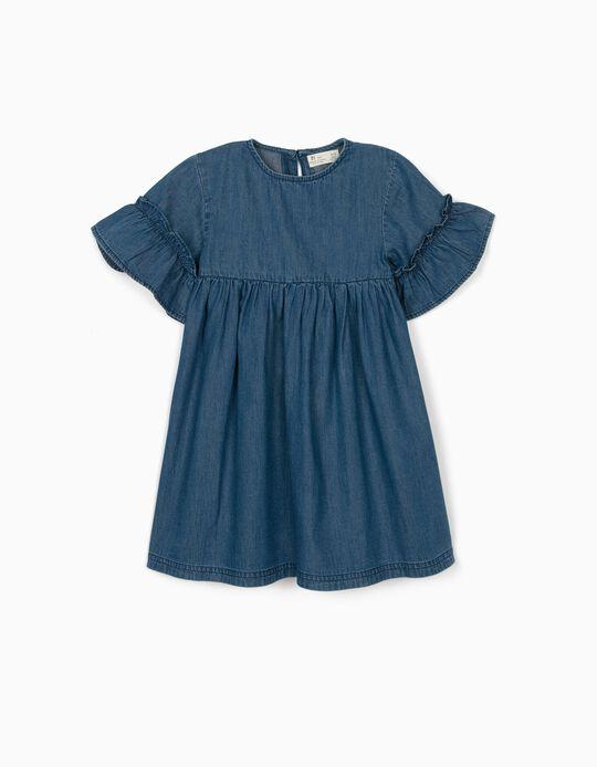 Robe denim fille, bleu
