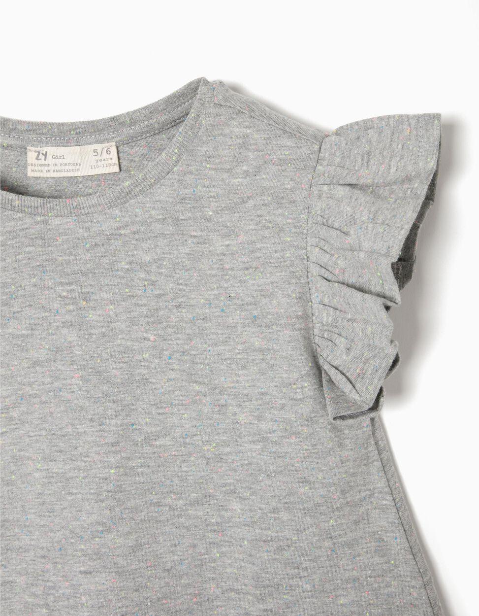 T-shirt Cinzenta Mesclada com Folhos