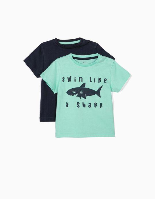 2 Camisetas para Bebé Niño 'Shark', Verde Agua y Azul Oscuro