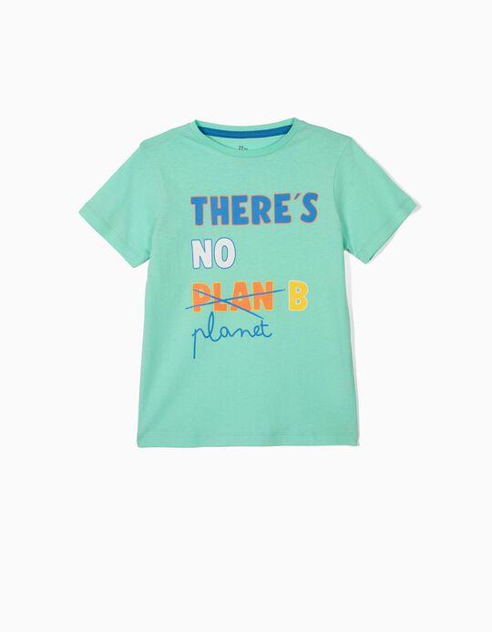 T-shirt para Menino 'There's No Planet B', Verde