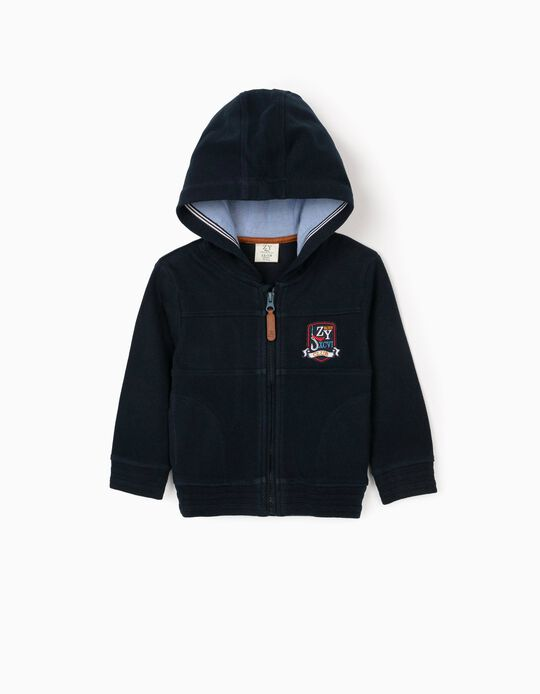 Hooded Jacket in Piqué Knit for Baby Boys, Dark Blue