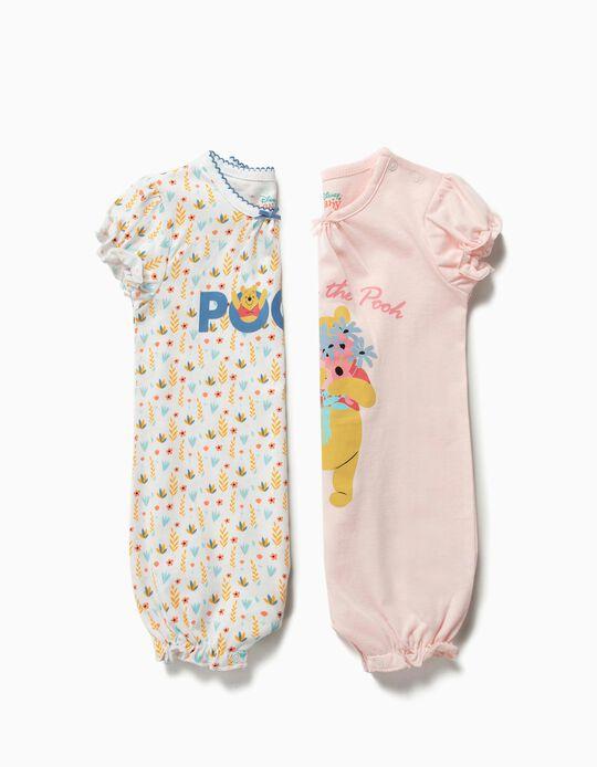 2 Babygrows para Bebé Menina 'Winnie The Pooh', Rosa e Branco
