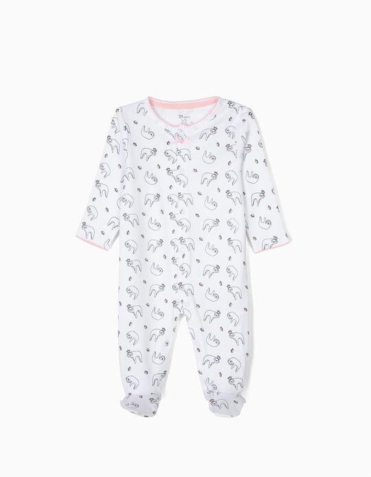 Babygrow para Recém-Nascida 'Queen Sloth', Branco