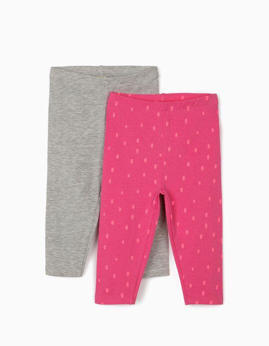 2 Leggings para Bebé Menina 'Dots', Rosa/Cinza