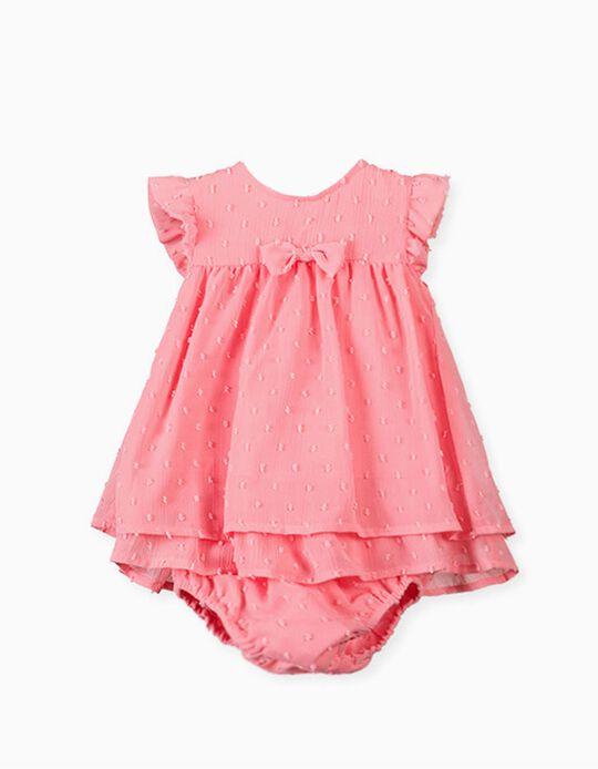 Vestido com Tapa-Fraldas para Recém-Nascida LOSAN, Rosa