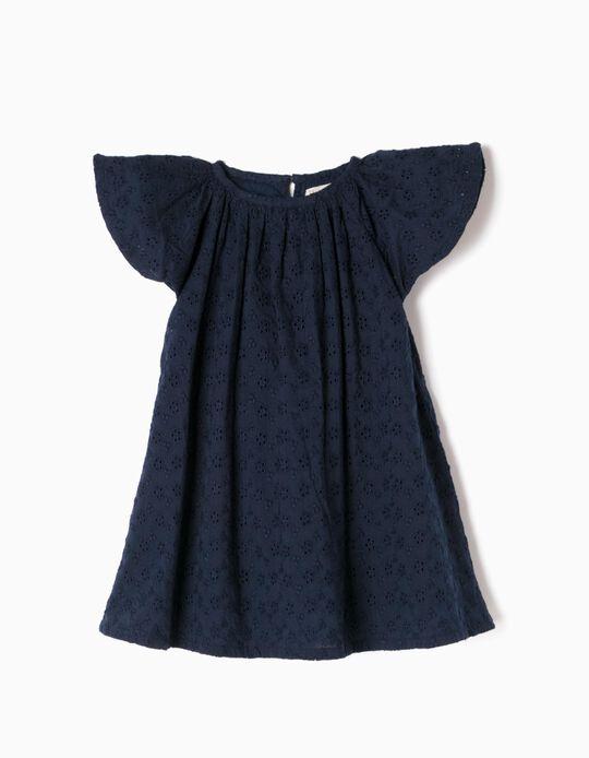 Vestido Bordado Azul com Tapa-Fraldas