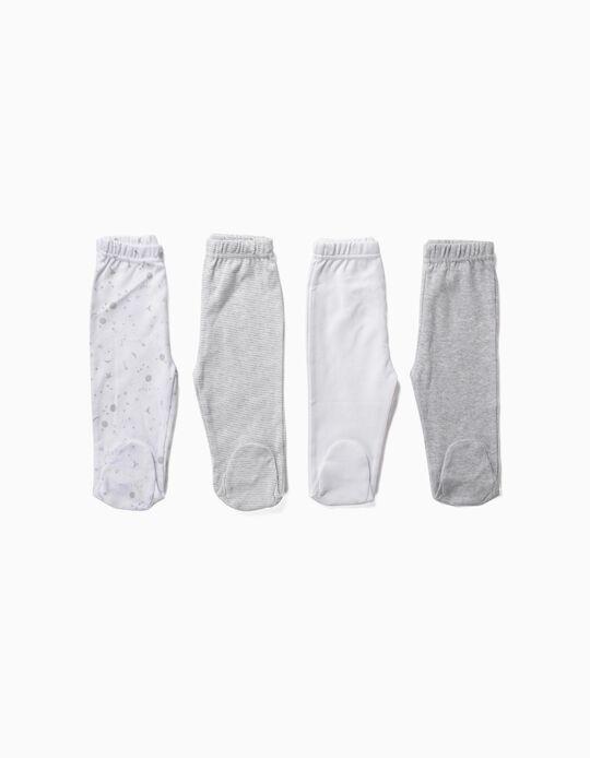 4 Calças com Pés para Recém-Nascido 'Space', Cinza e Branco