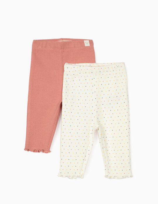 2 Pairs of Rib Knit Trousers for Newborn Baby Girls, Pink/White