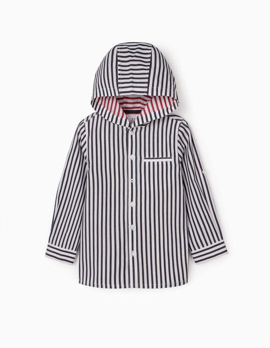 Chemise rayée à capuche garçon, bleu/blanc/rouge