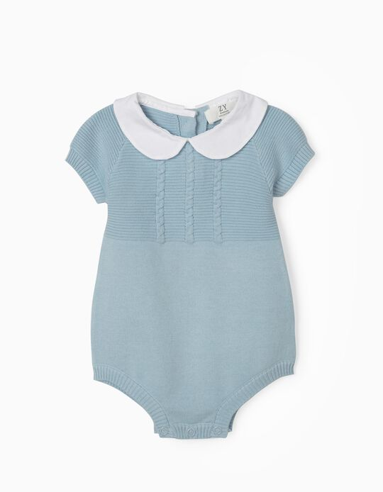 Knitted Jumpsuit for Newborn Baby Boys, Blue