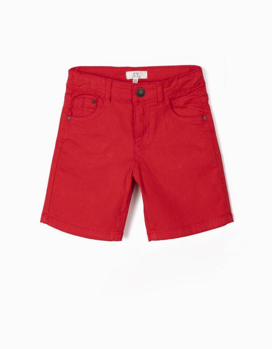 Short de Sarga para Niño, Rojo