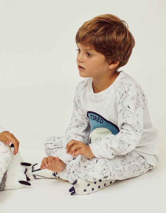 Pijama Terciopelo para Niño 'Glow in the Dark', Gris