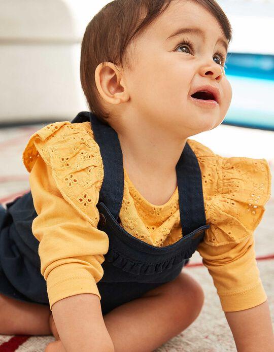 Saia de Peito para Bebé Menina com Folhinhos, Azul Escuro