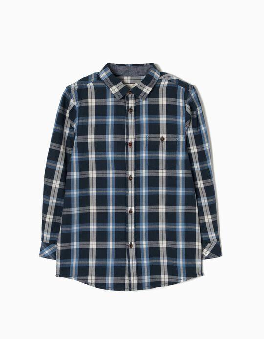 Camisa Xadrez para Menino, Azul Escuro