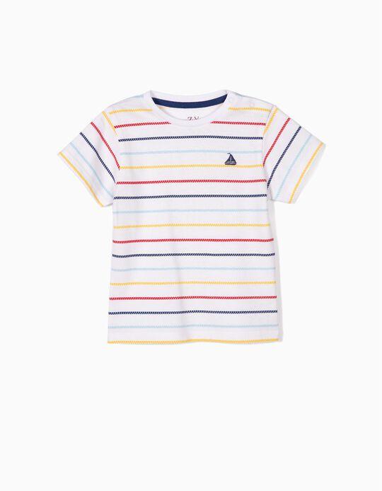 Camiseta para Bebé Niño a Rayas estilo Marinero, Blanca