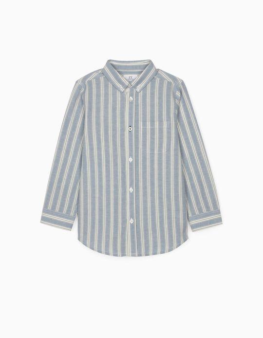 Camisa com Linho Riscas para Menino, Azul/Branco