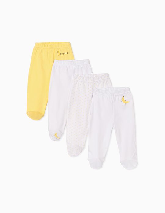 4 Footed Trousers for Babies, 'Banana', White/Yellow