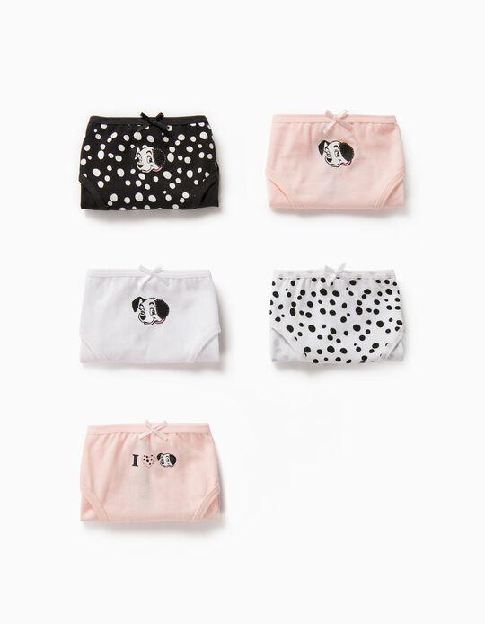 5 Briefs for Girls '101 Dalmatians', Multicoloured