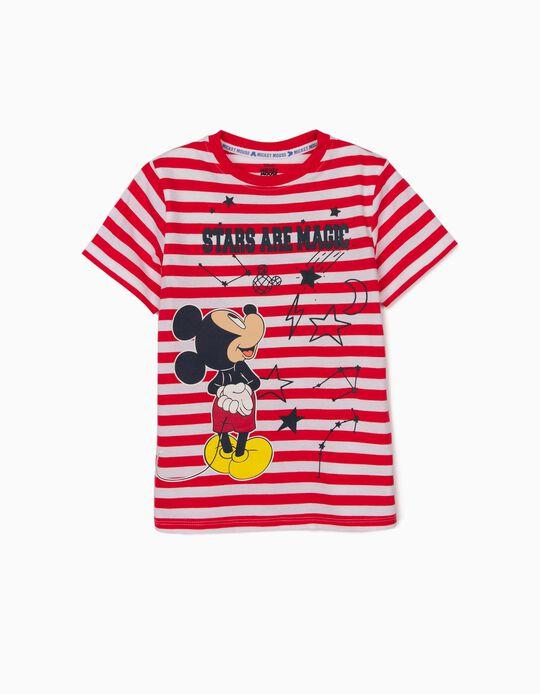 T-shirt à rayures garçon 'Mickey Stars', rouge/blanc