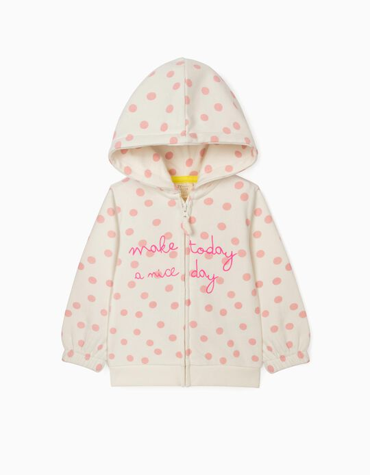 Hooded Jacket for Baby Girls, 'Nice Day', White/Pink