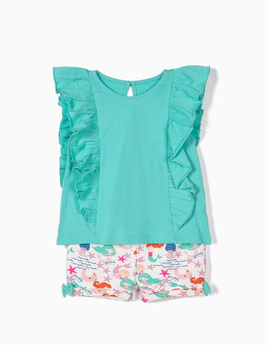 T-shirt e Calções para Bebé Menina 'Mermaids', Verde e Branco