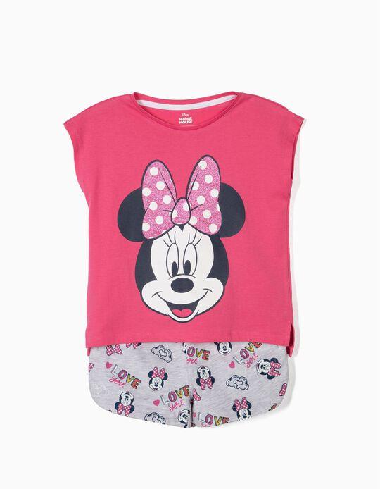 T-shirt e Calções para Menina 'Minnie', Rosa e Cinza