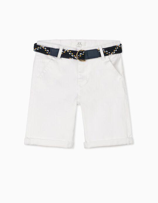 Short con Cinturón para Niño, Blanco